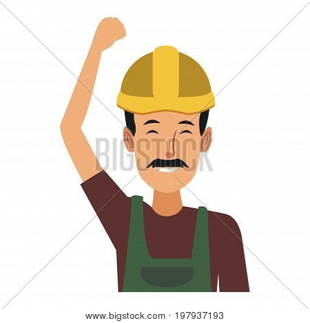 man construction worker labor force contractor occupation job vector illustration