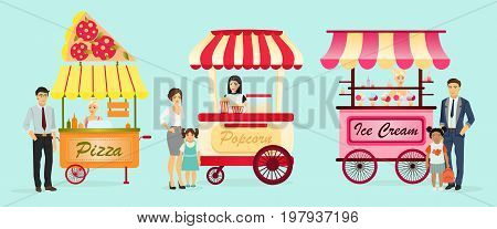 Creative detailed vector street pizza cart, popcorn and ice cream shop with sellers. Young people buy street food or junk food in food festival event. Illustration in flat cartoon style