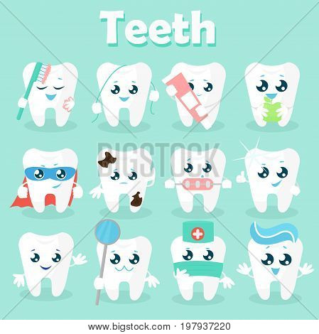 Set of funny icons of teeth. Vector illustration on a blue background. Concept of children s dentistry. Excellent dental card. Cute character. Caries prevention