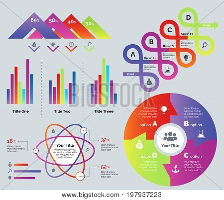 Presentation template set. Can be used for web design, workflow layout, annual report. Business concept. Percentage comparison chart Arrow loops diagram Bar graph Atom percentage chart Option chart
