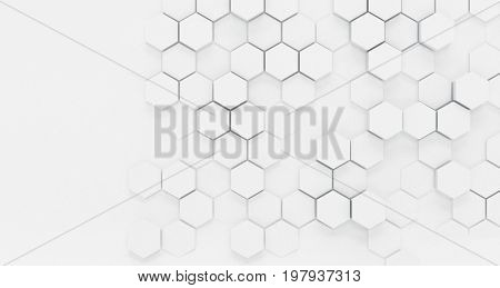 Abstract background texture with a white dimensional hexagonal pattern with faded or obscured areas giving a vintage effect in a wide angle view. 3d Rendering.