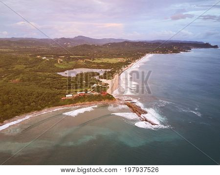 Beach for surfing in Nicaragua aerial drone view. Santana beach in Nicaragua