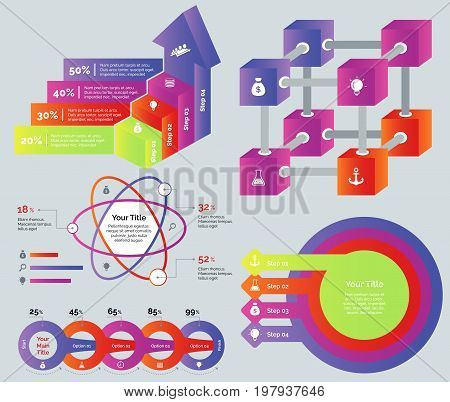 Process diagrams set. Can be used for infographic design, workflow layout, annual report. Business concept. Process bar graph Cube chart Percentage atom chart Process chart Concentric circles diagram