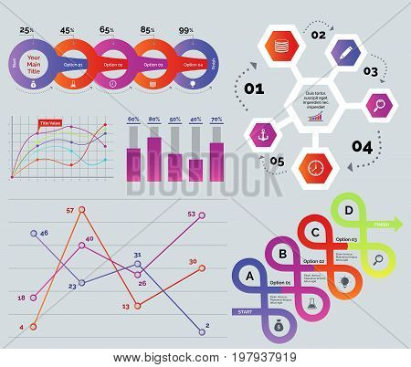Trade analysis template set. Can be used for workflow layout, annual report, web design. Business concept. Percentage process chart Cycle chart Line graph Bar graph Comparison chart Arrow loop diagram