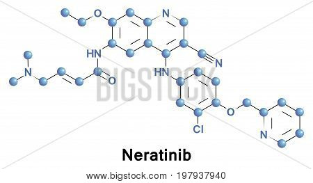 Neratinib is a tyrosine kinase inhibitor anticancer drug candidate,  it is a dual inhibitor of the human epidermal growth factor receptor 2 and epidermal growth factor receptor kinases