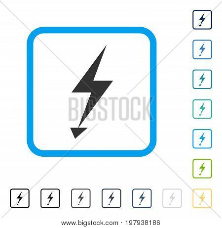 Electric Strike icon inside rounded rectangle frame. Vector illustration style is a flat iconic symbol in some color versions.