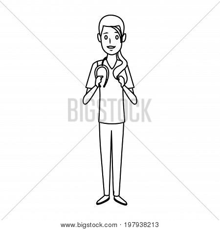 surgeon medical doctor woman wear surgery scrub suit and stethoscope vector illustration