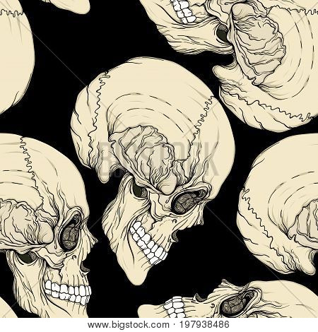 Seamless pattern, background with human skull. Stock line vector illustration.