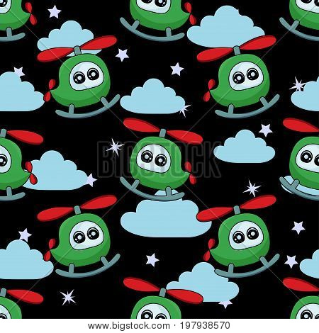 Cute Kids Pattern For Girls And Boys. Colorful Helicopter On The Abstract Bright Background Create A