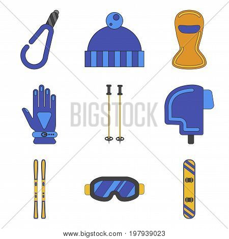 Set of Icons in flat design Winter sports outfit