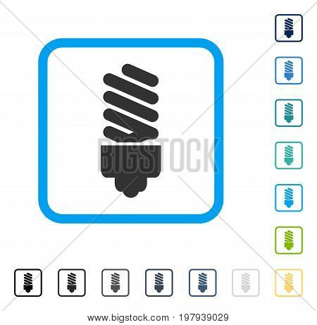 Fluorescent Bulb icon inside rounded square frame. Vector illustration style is a flat iconic symbol in some color versions.