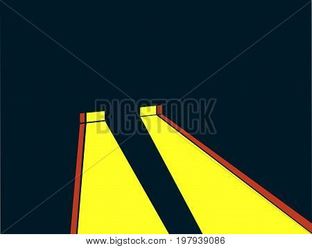 Headlights Retro Style. Noir. Yellow Ray Of Light. Vector Illustration