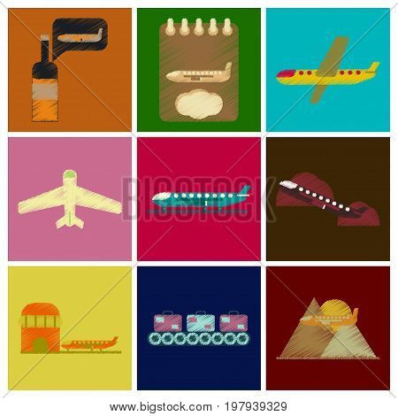 Set of Flat Icons in Shading Style planes