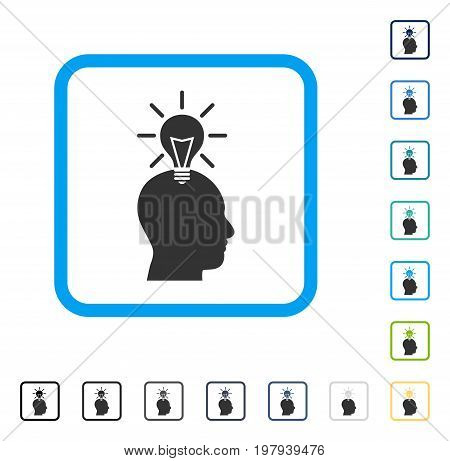 Genius Bulb icon inside rounded rectangle frame. Vector illustration style is a flat iconic symbol in some color versions.