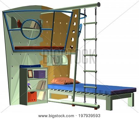 Childrens Bedroom Bed With Wo...