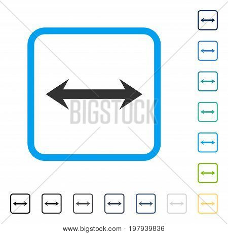 Horizontal Flip icon inside rounded square frame. Vector illustration style is a flat iconic symbol in some color versions.