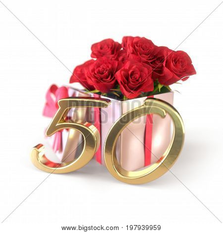 birthday concept with red roses in gift isolated on white background. 3D render - fiftieth birthday. 50th