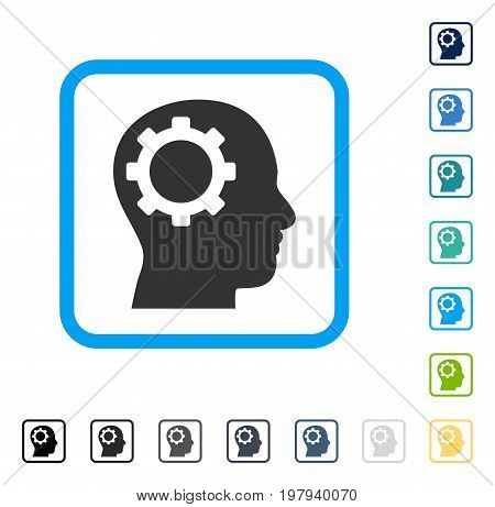Intellect Gear icon inside rounded square frame. Vector illustration style is a flat iconic symbol in some color versions.