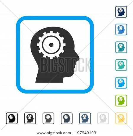 Intellect icon inside rounded rectangle frame. Vector illustration style is a flat iconic symbol in some color versions.