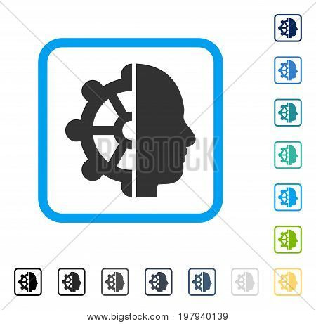 Intellect icon inside rounded square frame. Vector illustration style is a flat iconic symbol in some color versions.