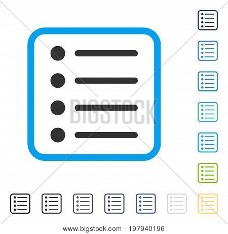 Items icon inside rounded square frame. Vector illustration style is a flat iconic symbol in some color versions.