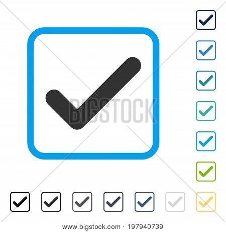 Ok icon inside rounded square frame. Vector illustration style is a flat iconic symbol in some color versions.
