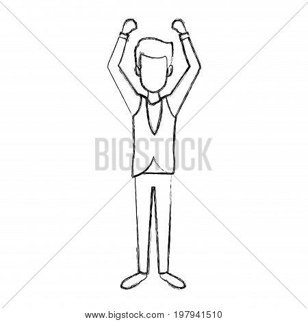 professional waiter male in uniform person character vector illustration