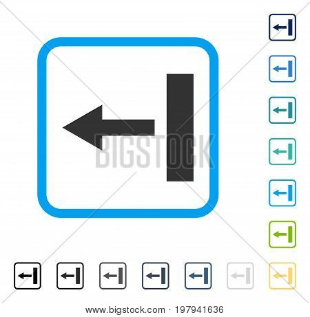 Pull Left icon inside rounded rectangle frame. Vector illustration style is a flat iconic symbol in some color versions.