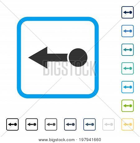 Pull Left icon inside rounded square frame. Vector illustration style is a flat iconic symbol in some color versions.