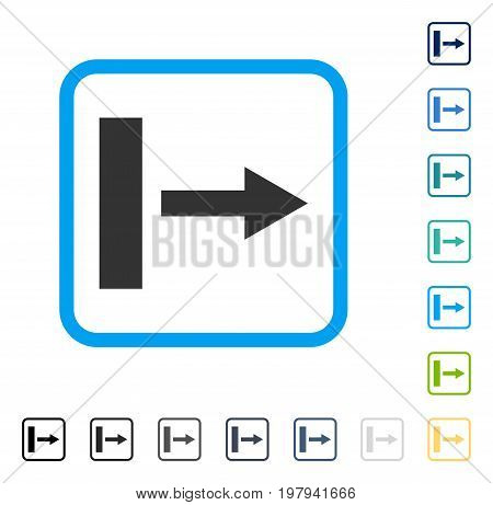 Pull Right icon inside rounded rectangle frame. Vector illustration style is a flat iconic symbol in some color versions.