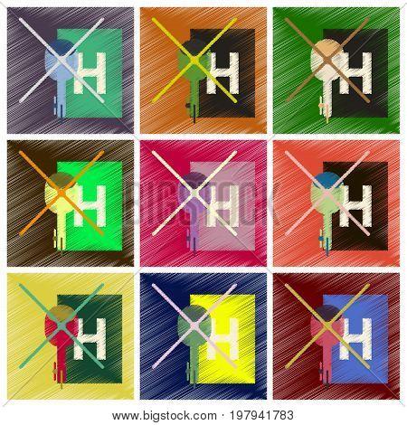 Set of Flat Icons in Shading Style Helipad