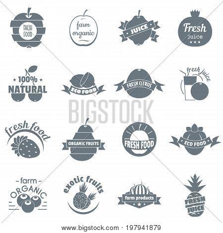 Fresh juice fruit logo icons set. Simple illustration of 16 fresh juice fruit logo vector icons for web