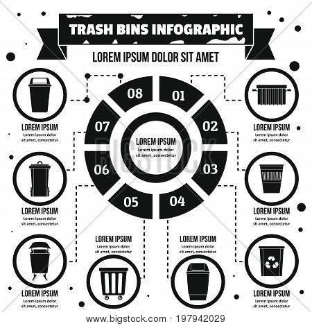 Trash bins infographic banner concept. Simple illustration of trash bins infographic vector poster concept for web