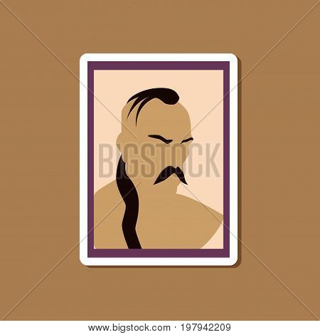 paper sticker on stylish background Ukrainian Cossack