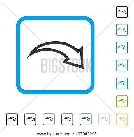 Redo icon inside rounded square frame. Vector illustration style is a flat iconic symbol in some color versions.
