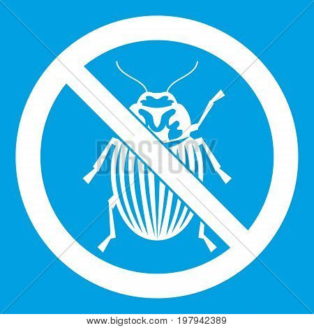 No potato beetle sign icon white isolated on blue background vector illustration
