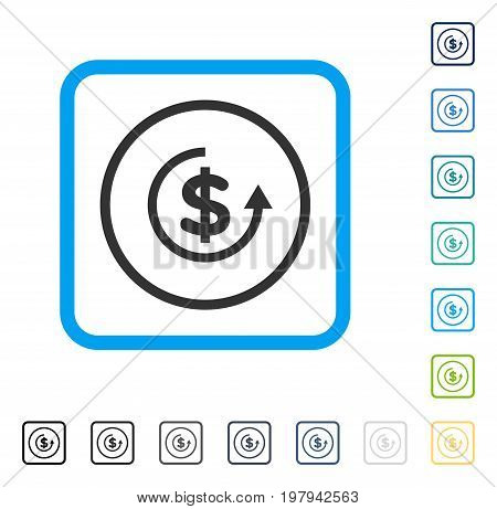 Refund icon inside rounded rectangle frame. Vector illustration style is a flat iconic symbol in some color versions.