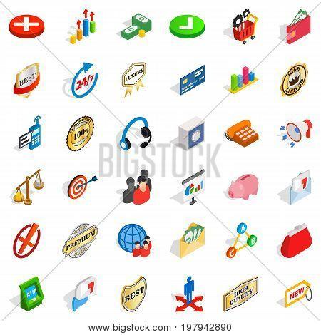 Business organization icons set. Isometric style of 36 business organization vector icons for web isolated on white background