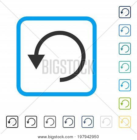 Rotate CCW icon inside rounded rectangle frame. Vector illustration style is a flat iconic symbol in some color versions.