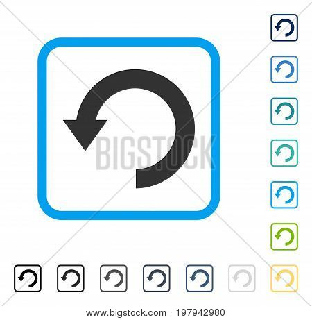Rotate Down icon inside rounded square frame. Vector illustration style is a flat iconic symbol in some color versions.