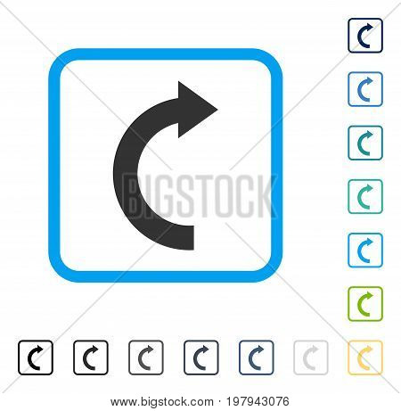 Rotate Right icon inside rounded square frame. Vector illustration style is a flat iconic symbol in some color versions.