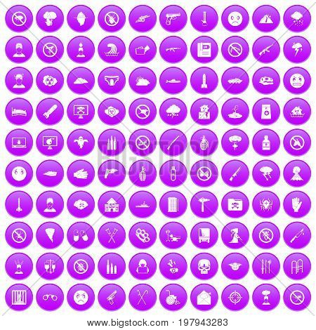 100 tension icons set in purple circle isolated vector illustration