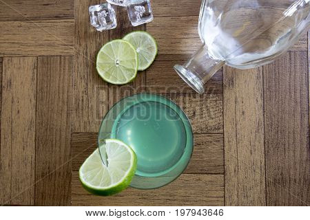 Gin Gimlet Cocktail With Bottle