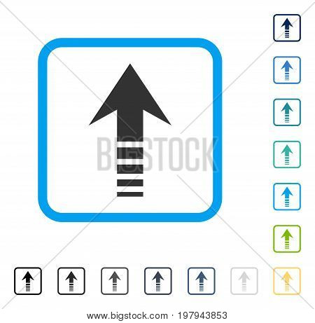 Send Up icon inside rounded rectangle frame. Vector illustration style is a flat iconic symbol in some color versions.