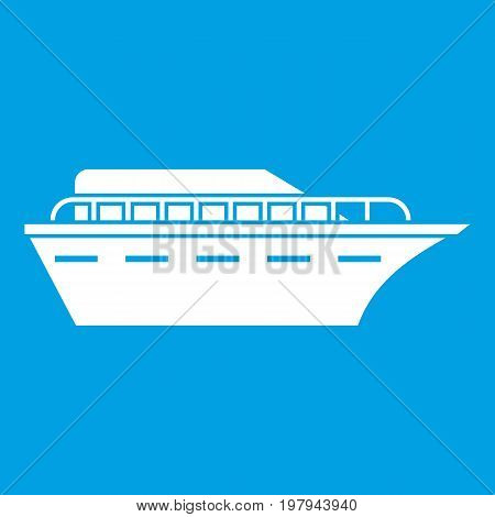 Powerboat icon white isolated on blue background vector illustration