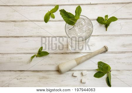 Classic Mojito Cocktail  With Fresh Mint Sprigs