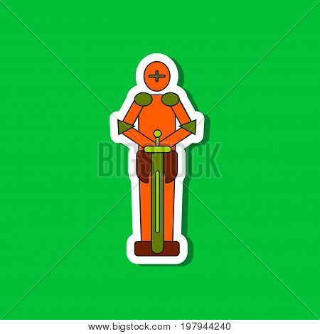 paper sticker on stylish background of Kids toy child soldier Knight