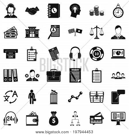 Business leader icons set. Simple style of 36 business leader vector icons for web isolated on white background