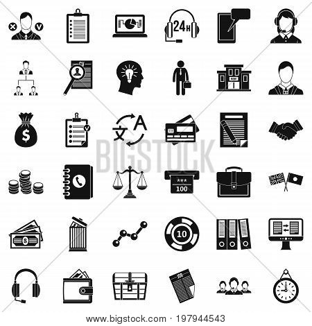 Business search icons set. Simple style of 36 business search vector icons for web isolated on white background