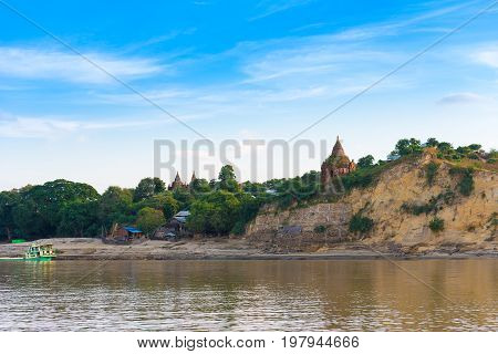 Pagoda On The Bank Of The Irrawaddy River, Mandalay, Myanmar, Burma. Tour From Mandalay To Bagan. Co